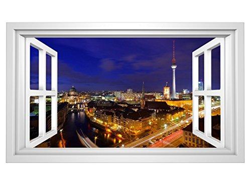 3D Wandmotiv Berlin Fenster Skyline Stadt Bildfoto Wandbild Wandsticker Wandtattoo Wohnzimmer Wand Aufkleber11E354