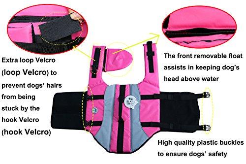 Vivaglory Dog Life Jacket Adjustable Buckle Dog Safety Vest Pet Lifesaver Coat 5