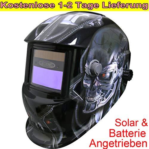 Leopard {Roboter} Solar Schweißhelm Automatik + Austauschbare Batterie, Großes Sichtfeld DIN9-13, Automatisches Abdunkeln, Schweißhelm Automatisch für MMA,MAG,MIG, TIG,Saw,PAW,PAC, RSW