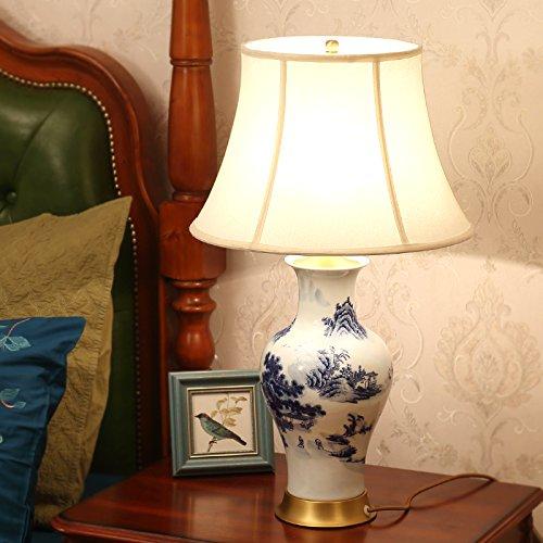 Crema China (Europäische Lampe China Keramik Schlafzimmer Nachttischlampe Retro Luxus dekorative Schreibtisch Lampen, Breite: 39cm, hoch: 65cm)