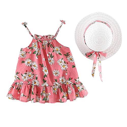 Livoral Mädchen Floral Plissee Prinzessin Kleid + Hut Kind Baby Freizeitkleidung Set(Rot,90)