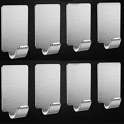 Kitlit 8ST Haken Selbstklebend Handtuchhaken Wandhaken Bademantelhaken Kleiderhaken ohne Bohren Max 10kg Gebürstetes Edelstahl Haken Kleiderhaken Bad Küche Wasserdicht