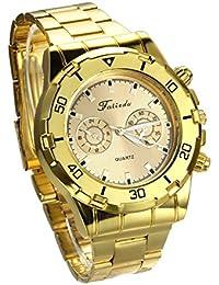 Jewelrywe Relojes de Hombres Caballeros Oro Dorado Atractivo Casual 2 Ojos Decorativos Reloj de Pulsera de Acero Inoxidable, Buen regalo de Navidad