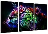 Dark Abstrakter Gepart Format: DreiteilerGesamt 120x80, Bild auf Leinwand bespannt, riesige XXL Bilder komplett und fertig gerahmt mit Keilrahmen, Kunstdruck auf Wand Bild mit Rahmen, günstiger als Gemälde oder Bild, kein Poster oder Plakat