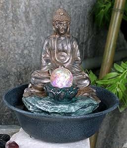 Fontaine en Polyrésine Bouddha avec Sphère en Cristal et Éclairage LED