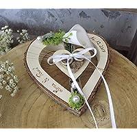 coeur en bois au milieu blanc porte-bague Calla pour alliances avec nom