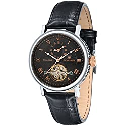 Thomas Earnshaw Men's Beaufort Dual Time Automatic Watch with Black Dial Analogue Display and Black Leather Strap ES-8047-01