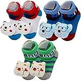 YIGOU 3 paia di scarpe da neonato, motivo bambina 3D a forma di calze, Calzini, Scarpette per neonato, con sonaglio e calze pantofola, colore: blu, taglia: 0-9 mesi Random Color4 0-9 Mesi