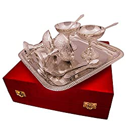 Jaipur Ace Handicraft Silver Plated Ice Cream Bowl and Spoon (4 Ice Cream Bowl: 4 Spoon: 1 Tray)