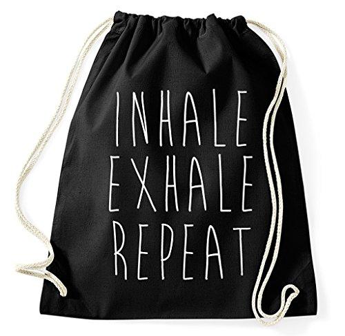 Inhale Exhale Repeat Yoga Pilates Turnbeutel Sportbeutel Jutebeutel Rucksack Spruch Sprüche Hipster Design, schwarz