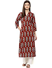 Jaipur Kurti Brown Floral Print Kurta With Off White Palazzo Set