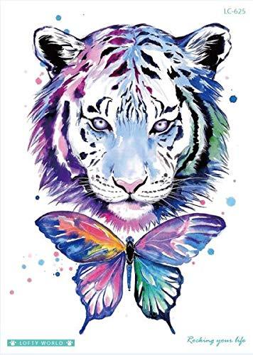 Löwe Gefälschte Tattoo Tiger Temporäre Tattoo Aufkleber Für Frauen Körper Kunst Taty Wasserdicht Tatuajes Wolf Männer(2 Pack) LC-625 ()