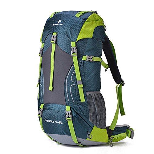dohot groß 55Liter wasserdichte Reise Wandern Camping Rucksack Bergsteigen Klettern Rucksack Tasche mit Regen Cover Grün