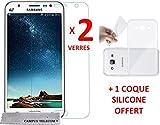 2 Films Vitre Verre Trempé de protection ecran + 1 coque silicone Samsung Galaxy J5 (2015) SM-J500F by Campus Telecom®