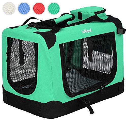 Transportbox faltbar inklusive Polster Haustier-Transportbox Hundebox Auto Box Katzen in vier verschiedenen Farben & fünf Größen