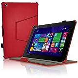 igadgitz Premium Rot PU Ledertasche Hülle Case Cover für