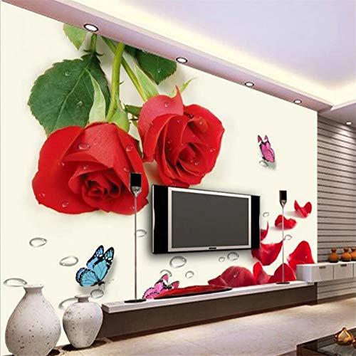 UPINT Wand Papier Wandbild Wohnzimmer Schlafzimmer Benutzerdefinierte Traum Red Rose Blume Schmetterling Wandbild Tv Hintergrund Home Decor
