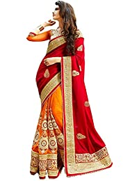 Winza Women's Georgette Half Half Saree With Blouse