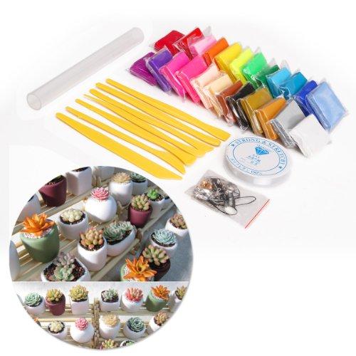 CLE DE TOUS@ 24 colores Arcilla polimérica para Manualidades+ herramientas de modelado + accesorios + Rodillo + Hilo
