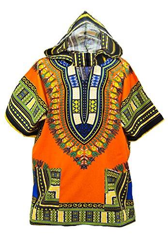Lofbaz Unisex Dashiki Tradizionale Africana Hippy Boho Design #1 Arancione L