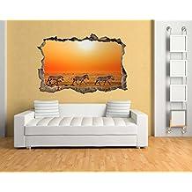 XXL (1,80m) pared pegatinas cebras en la sabana en efecto 3d para un fantástico efecto pared adhesivo bs1593