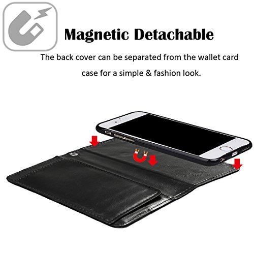"""xhorizon TM MLK [détachable] [séparable] 2 en 1 haut de gamme en cuir double-pli carte magnétique soutien le téléphone Compatible avec l'étui portefeuille avec cordon pour Apple iPhone 7 [4.7""""] noir"""