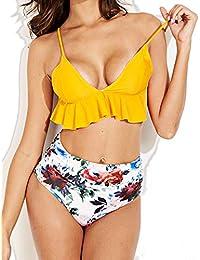 042b64535eb6e Women Sexy Ruffle Triangle Padded Bikini Set, Floral Print High Waist  Bottom Swimsuit Bathing Suit, Sexy Flounce…