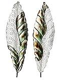Formano Wanddeko aus Metall Blätter Set Silber Bunt je 87 x 25 cm