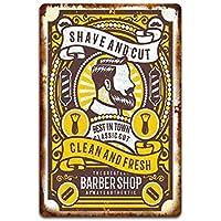 Rmbearmoni Placa Metal Letrero Estaño Barber Shop Carteles De Chapa Tin Shop Hair Shop Vintage Tablero De Decoración De Pared Retro Pub Bar Poster-Light_Yellow_20X30Cm