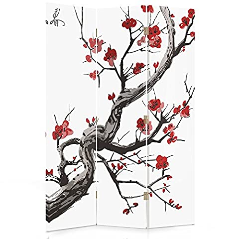 Feeby Frames Canvas Screen, Decorative Room Divider, Paravent, Double sided, 3 panels (110x150 cm) JAPANESE FLOWERING CHERRY, WHITE, RED,