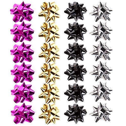 Lot de 24 petits nœuds feuille contemporain cadeau métallique doré, argenté, noir & Fuchsia