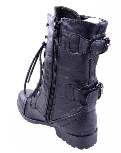 Donna Militare Combattimento con lacci zip GRUNGE MILITARE BIKER Trench Punk Gotico stivaletti taglia Ecopelle Nera
