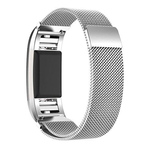 Für Fitbit Charge 2 Watch Strap Clode® Milanaise Edelstahl Armbanduhren Watch Band + HD Film für Fitbit Charge 2 (Silber)