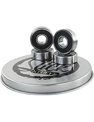 Lot de 4x High Quality CROMO en acier Trottinette Roulement à bille noir + 2Spacer en jolie boîte cadeau
