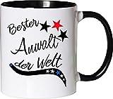 Mister Merchandise Becher Tasse Bester Anwalt der Welt. Kaffee Kaffeetasse liebevoll Bedruckt Beruf Job Arbeit Weiß-Schwarz