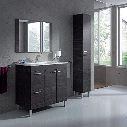 HABITMOBEL Pack Completo, Mueble BAÑO (2 Puertas + 2 cajones) + Espejo + Lavabo D de PMMA (NO Clásica Cerámica) + Columna DE PIE
