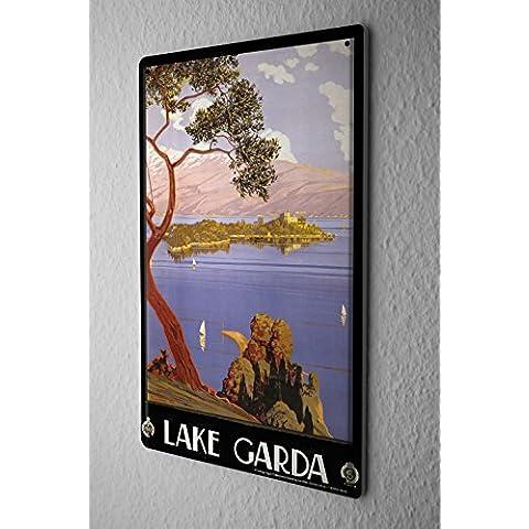 Cartello Targa In Metallo Tour Mondiale Lago di Garda a vela Tree Island Piastra Insegna Metallica 20X30 cm
