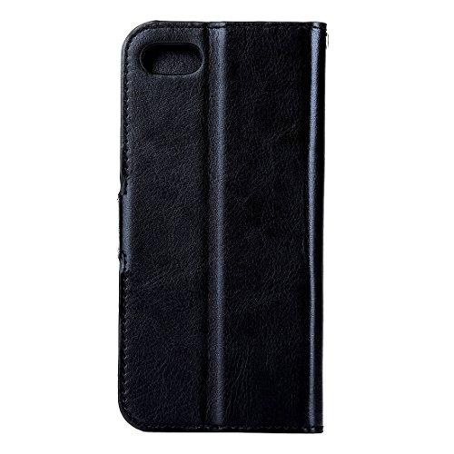Hülle für iPhone 7 plus , Schutzhülle Für iPhone 7 Plus Verrückte Pferd Textur Horizontale Flip Leder Tasche mit magnetischen Wölbung & Halter & Card Slots & Wallet & Photo Frame ,hülle für iPhone 7 p Black