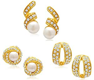Sukkhi Divine Gold Plated Alloy Set of 3 Stud Earrings Combo for Women