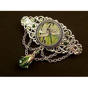 Große Libellen Haarspange in grün silber
