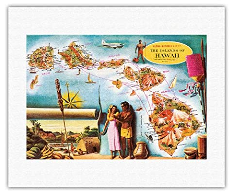 Aloha Airlines Route Map of the Hawaiian Islands - Vintage Hawaiian Colored Cartographic Map by Don Allison - Hawaiian Fine Art Rolled Canvas Print - 16in x