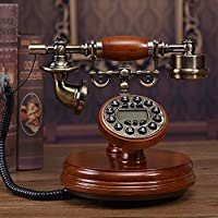 Motesuvar Antigüedades Europeas Teléfono, Teléfono De Casa, Teléfono Fijo, Teléfono Americano Retro Clásica,Contraluz Versión Manos Libres (Cable) De Cuero Color Caoba