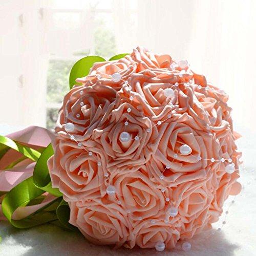 Lebensechte künstliche Blume Brautstrauß 18 Plus Perlen Rosa Hochzeit Zubehör