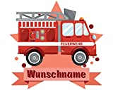 plot4u Feuerwehr-Auto Wandtattoo Türschild mit Name Personalisierbar Kinderzimmer Türaufkleber Baby Wandaufkleber in 9 Größen (25x22cm Mehrfarbig) Test