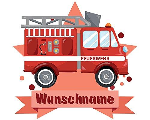 feuerwehr wandtattoo plot4u Feuerwehr-Auto Wandtattoo Türschild mit Name Personalisierbar Kinderzimmer Türaufkleber Baby Wandaufkleber in 9 Größen (25x22cm Mehrfarbig)
