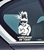 Wunschname On Tour - Baby On Board Biker Personalised with your Name Punk Funny Auto Vinyl Sticker Car Jdm OEM Vertical Sticker Bomb Stickers Decals Tuning Sticks