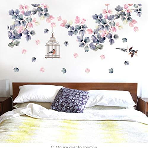 Zybnb Blumen Reben Vögel Käfig Fliegen Vögel Wandaufkleber Wohnzimmer Schlafzimmer Wandbild Poster KunstWohnkultur WandtattoosWand Grafik60X90 Cm