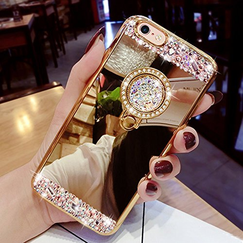 Custodia iphone 6 plus cover iphone 6s plus,ukayfe lusso custodia per iphone 6 plus iphone 6s plus ultraslim specchio copertura cover case protettiva con bling strass design,moda serie completa screen-protector,skin custodia stilosa custodia protettiva shell antigraffio cover posteriore per iphone 6 plus iphone 6s plus-oro con ring holder