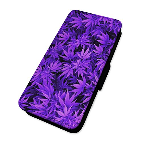 Violett Weed Pflanzen – Marihuana – Flip Case Wallet Cover Card Holder Apple Iphone 6 Plus/6s Plus