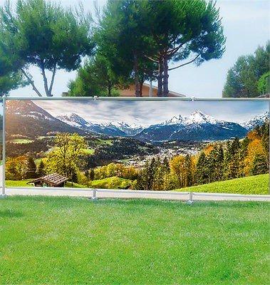 Stickersnews - Brise vue personnalisé, jardin, terrasse, balcon déco Paysage montagne réf 9112 Occultation - 100%, Dimensions - 180x70cm